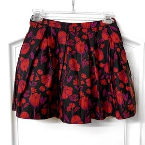 Black Floral Pleated Bubble Skirt